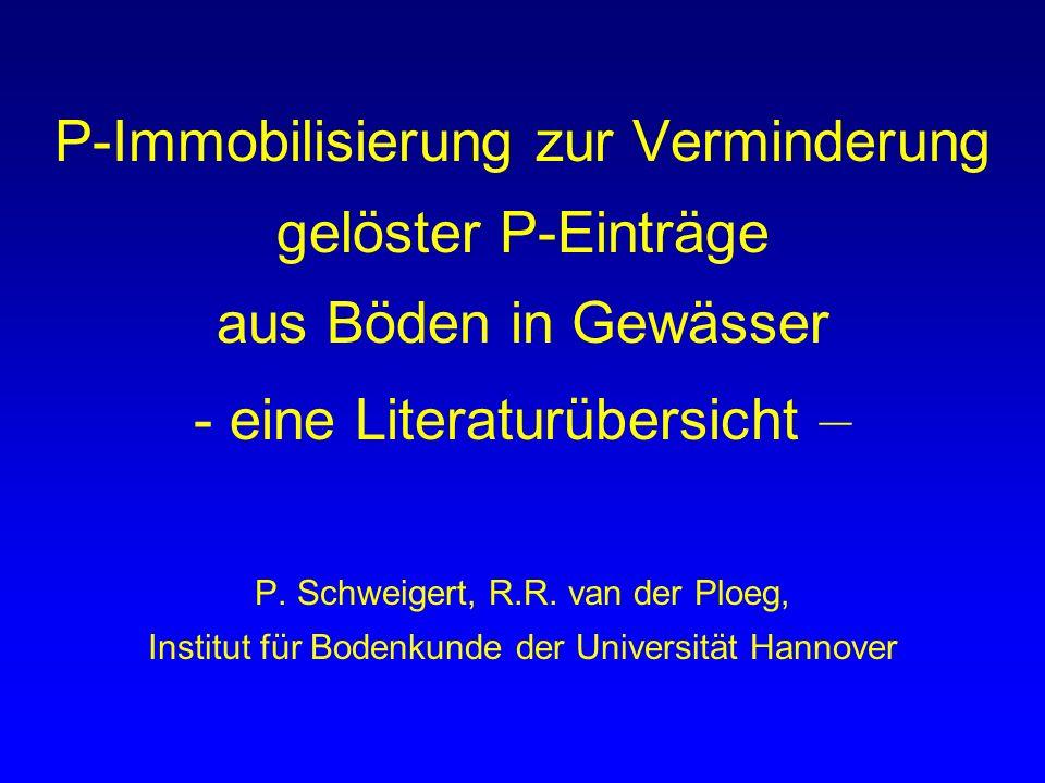 P-Immobilisierung zur Verminderung gelöster P-Einträge aus Böden in Gewässer - eine Literaturübersicht – P.