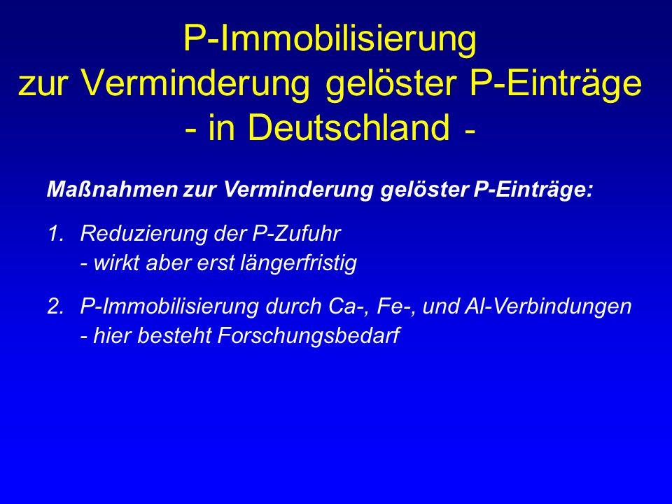 P-Immobilisierung zur Verminderung gelöster P-Einträge - in Deutschland -