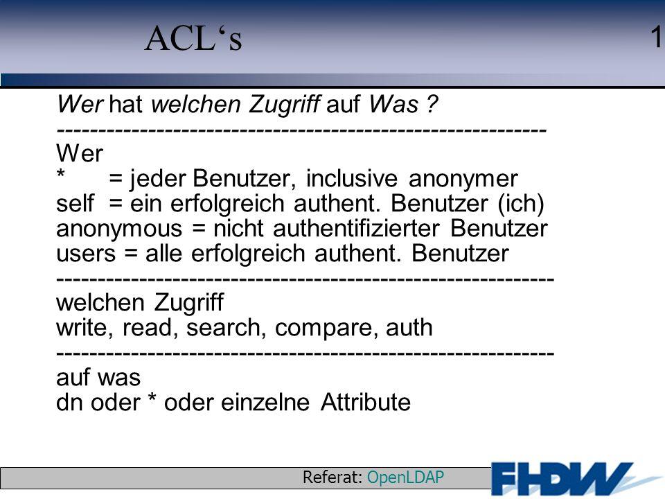 ACL's Wer hat welchen Zugriff auf Was