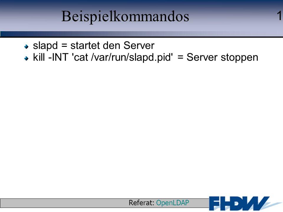 Beispielkommandos slapd = startet den Server