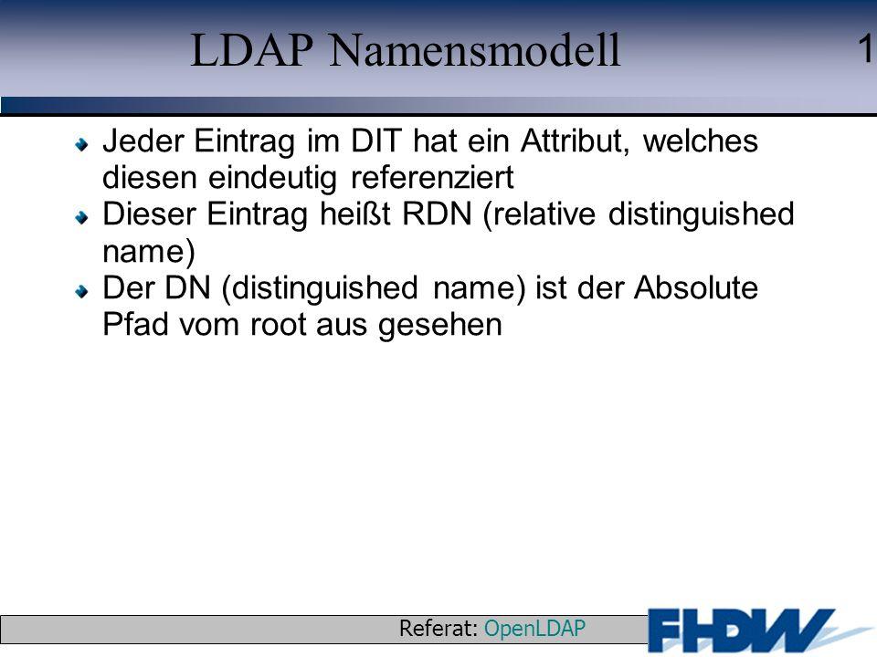 LDAP Namensmodell Jeder Eintrag im DIT hat ein Attribut, welches diesen eindeutig referenziert.
