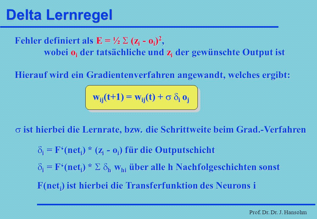 Delta Lernregel Fehler definiert als E = ½ S (zi - oi)2,