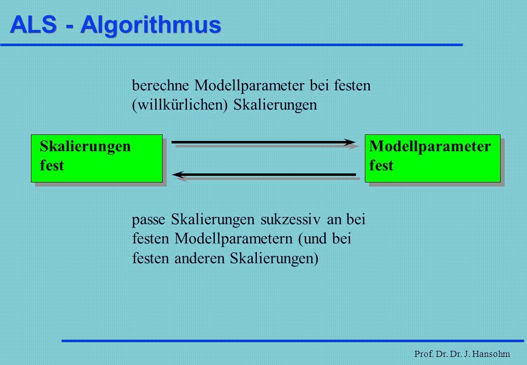 ALS - Algorithmus berechne Modellparameter bei festen