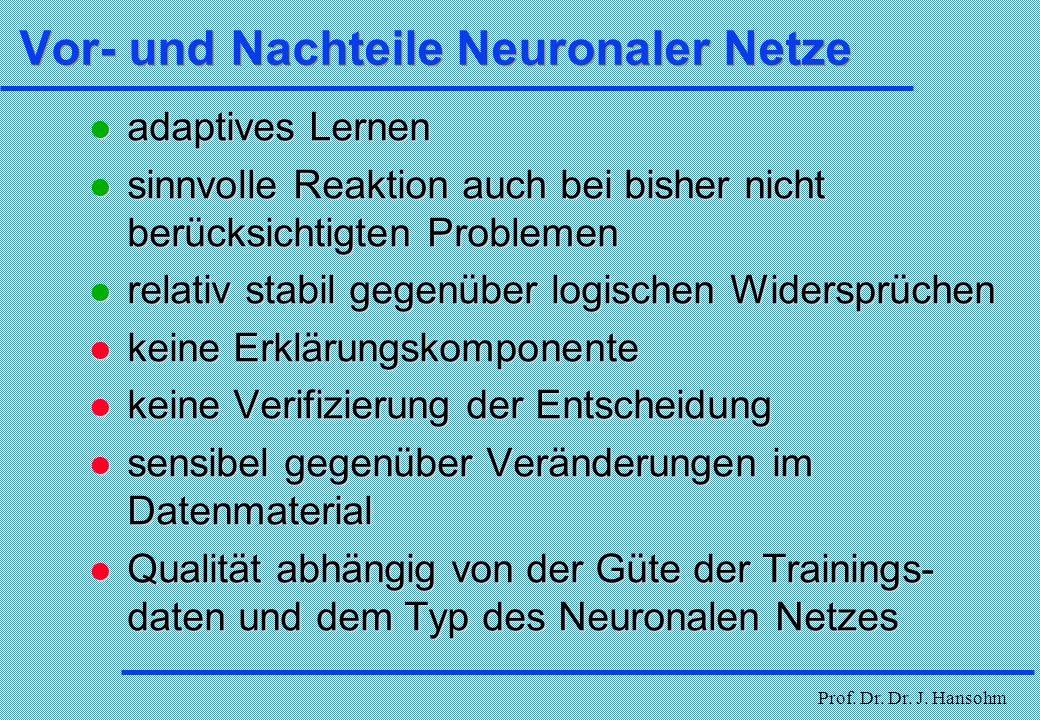 Vor- und Nachteile Neuronaler Netze