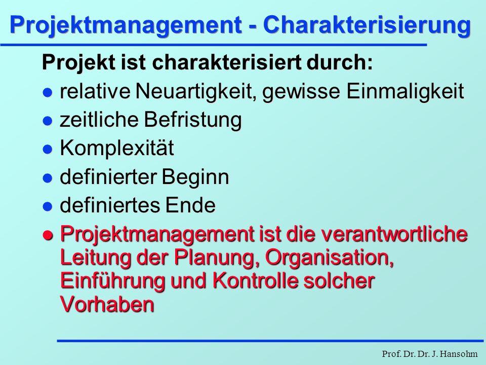 Projektmanagement - Charakterisierung