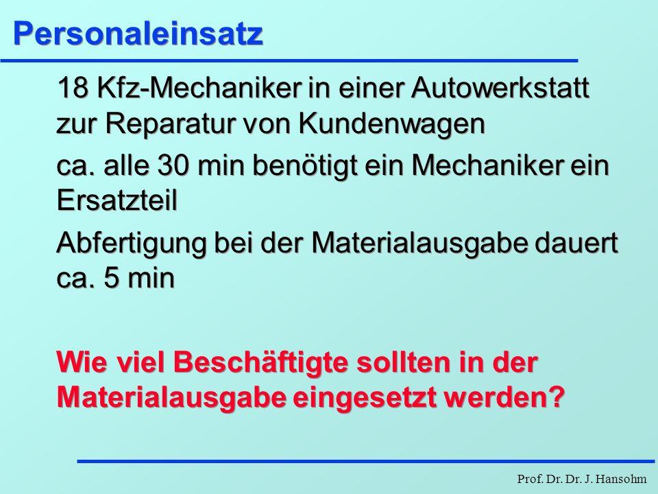Personaleinsatz18 Kfz-Mechaniker in einer Autowerkstatt zur Reparatur von Kundenwagen. ca. alle 30 min benötigt ein Mechaniker ein Ersatzteil.
