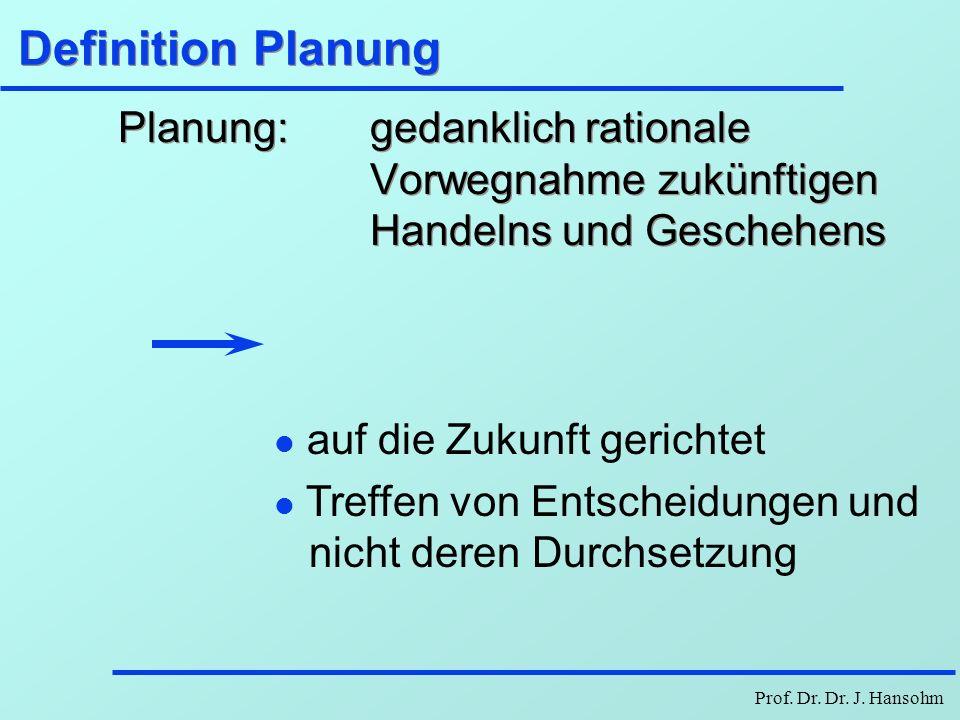 Definition PlanungPlanung: gedanklich rationale Vorwegnahme zukünftigen Handelns und Geschehens.