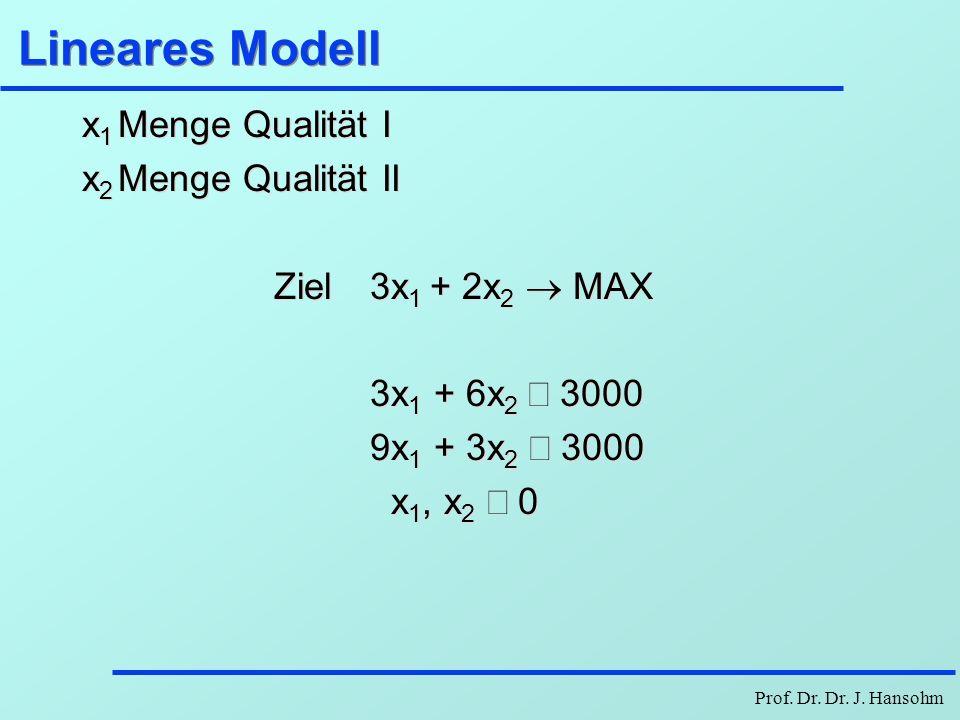 Lineares Modell x1 Menge Qualität I x2 Menge Qualität II