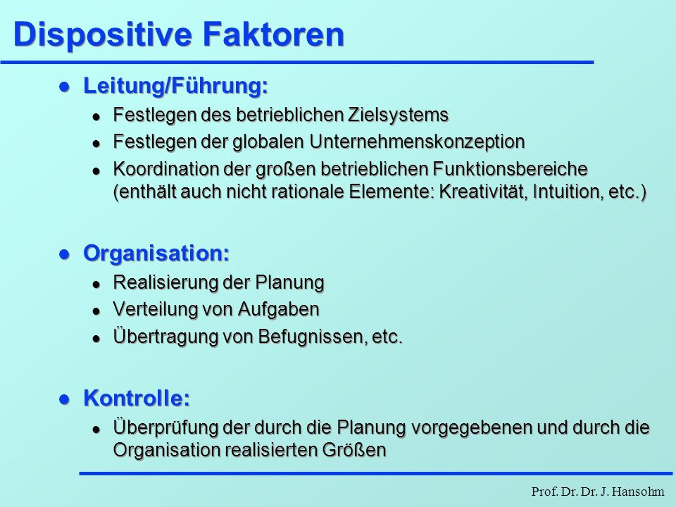 Dispositive Faktoren Leitung/Führung: Organisation: Kontrolle: