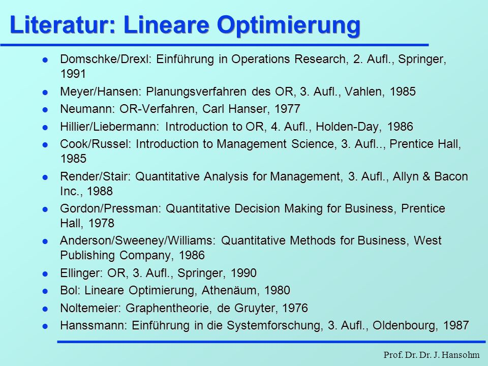 Literatur: Lineare Optimierung
