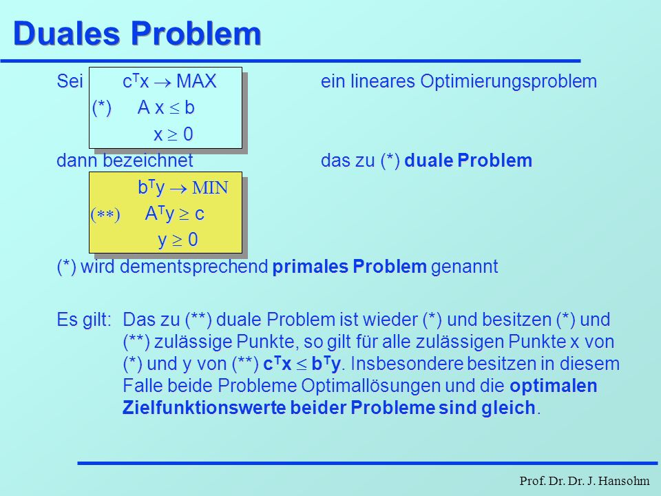 Duales Problem Sei cTx ® MAX ein lineares Optimierungsproblem