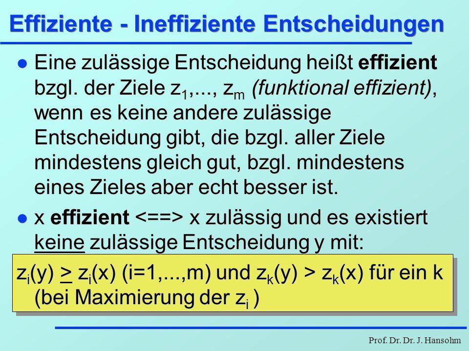 Effiziente - Ineffiziente Entscheidungen