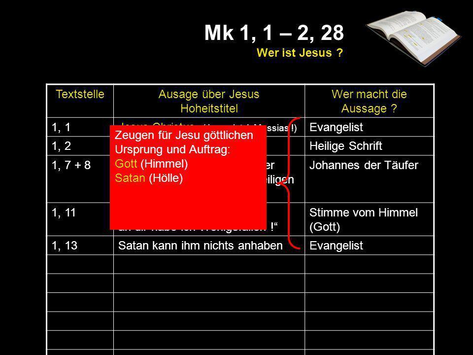 Mk 1, 1 – 2, 28 Wer ist Jesus Textstelle Ausage über Jesus
