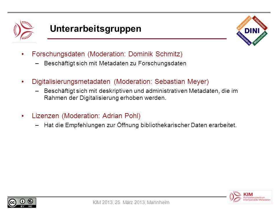 Unterarbeitsgruppen Forschungsdaten (Moderation: Dominik Schmitz)