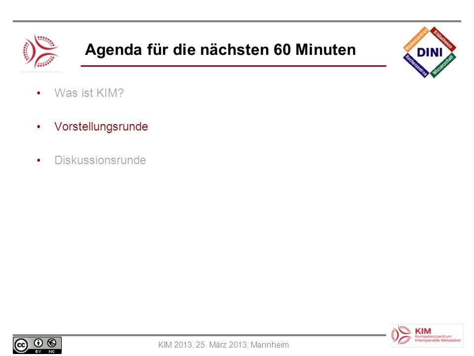 Agenda für die nächsten 60 Minuten