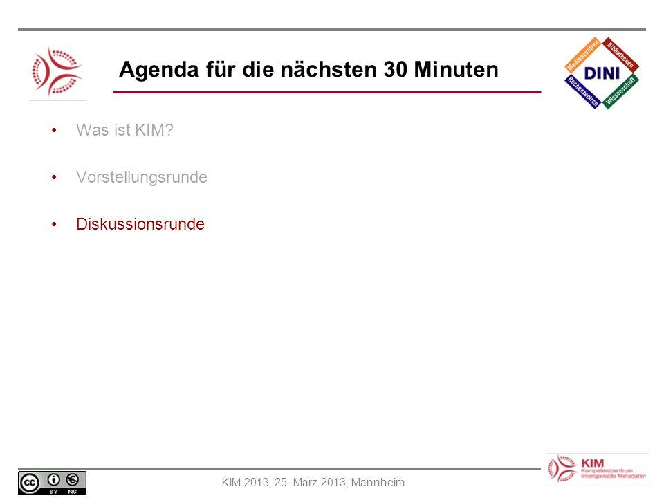 Agenda für die nächsten 30 Minuten