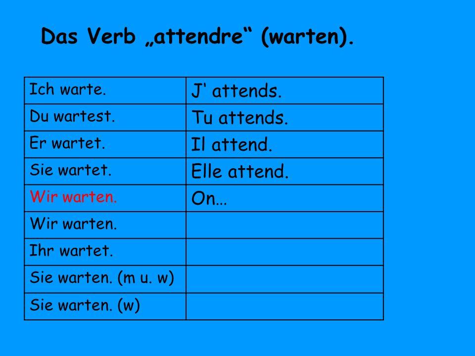 """Das Verb """"attendre (warten)."""