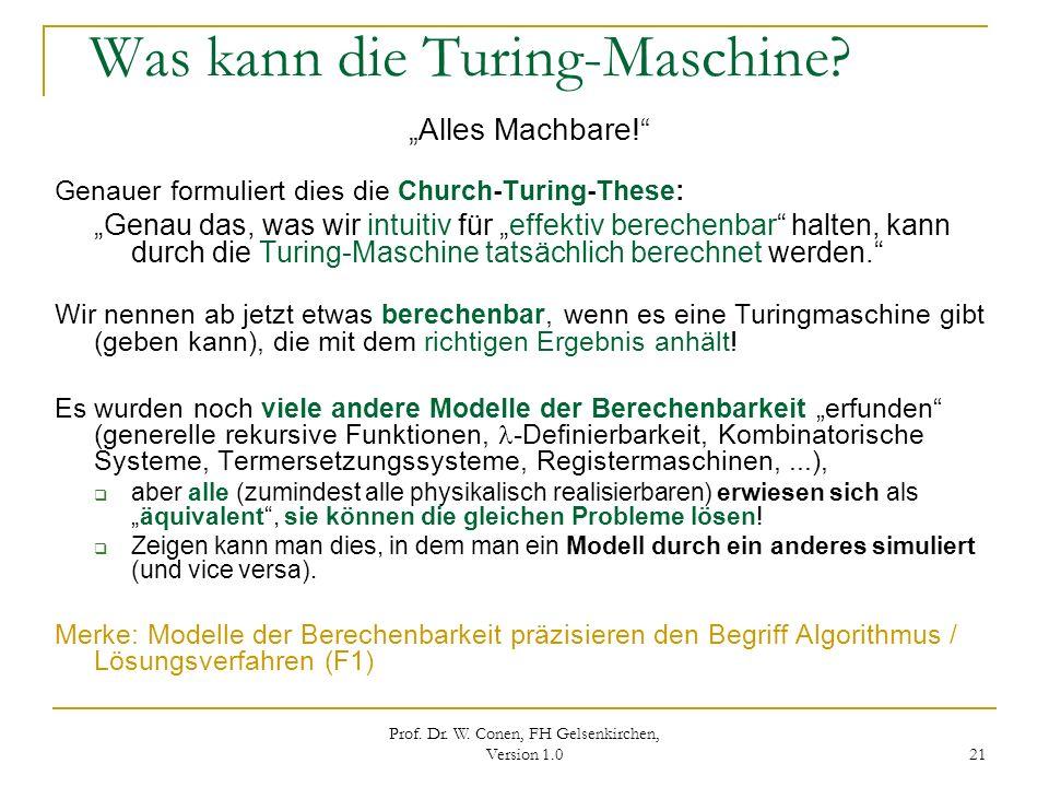 Was kann die Turing-Maschine