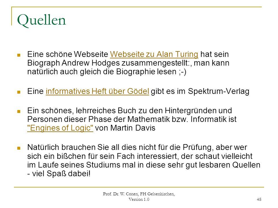Prof. Dr. W. Conen, FH Gelsenkirchen, Version 1.0