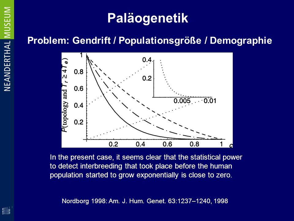 Paläogenetik Problem: Gendrift / Populationsgröße / Demographie