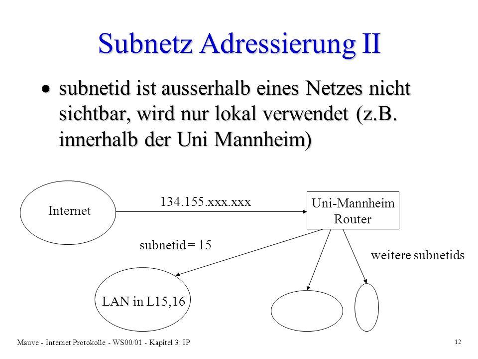 Subnetz Adressierung II