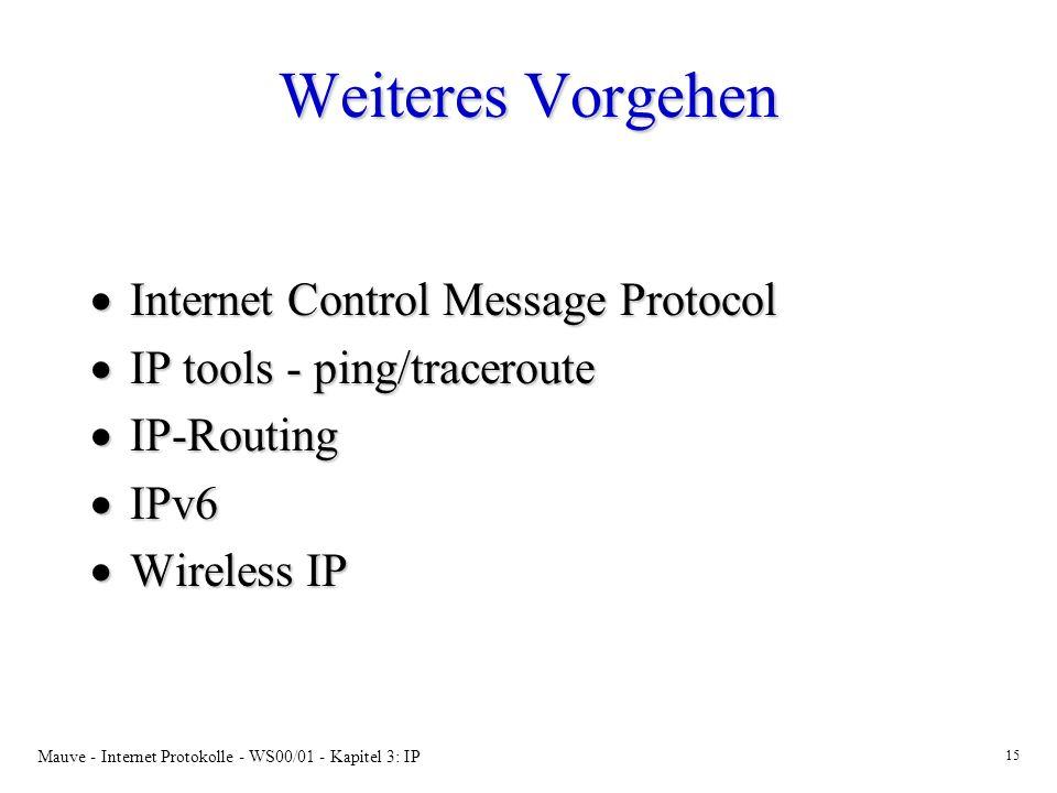 Weiteres Vorgehen Internet Control Message Protocol
