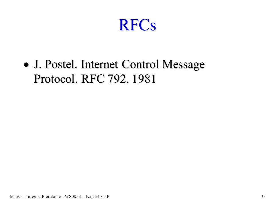RFCs J. Postel. Internet Control Message Protocol. RFC 792. 1981