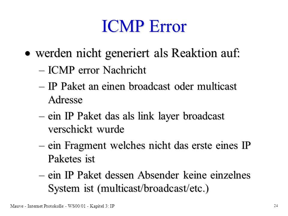 ICMP Error werden nicht generiert als Reaktion auf: