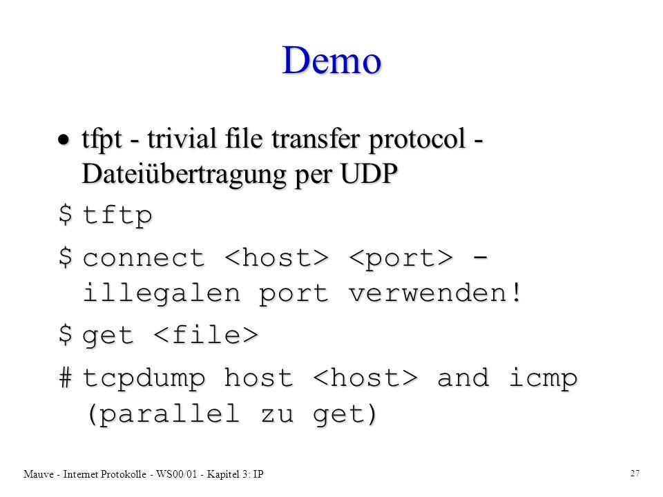 Demo tfpt - trivial file transfer protocol - Dateiübertragung per UDP