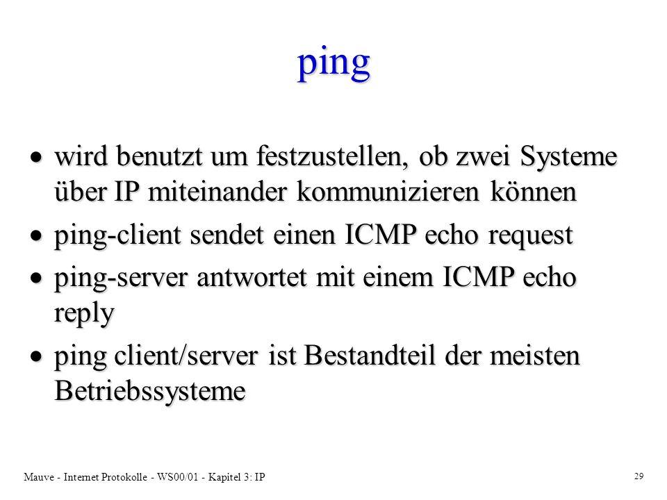 ping wird benutzt um festzustellen, ob zwei Systeme über IP miteinander kommunizieren können. ping-client sendet einen ICMP echo request.
