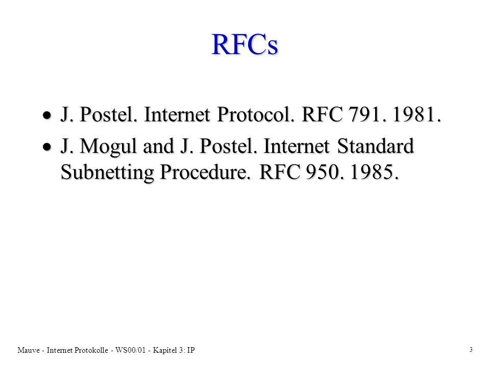 RFCs J. Postel. Internet Protocol. RFC 791. 1981.