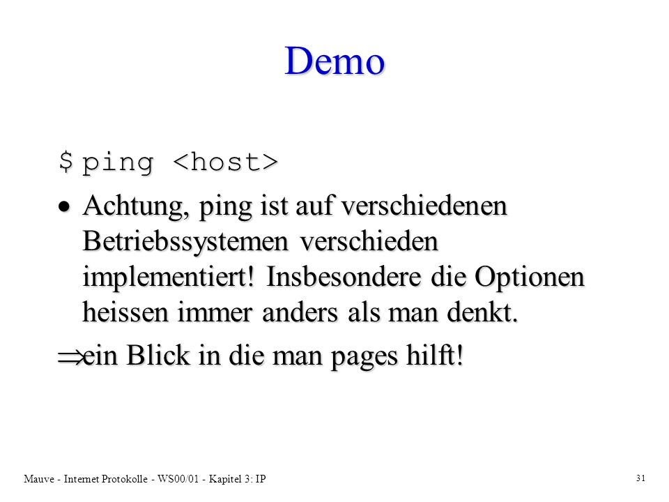 Demo ping <host>