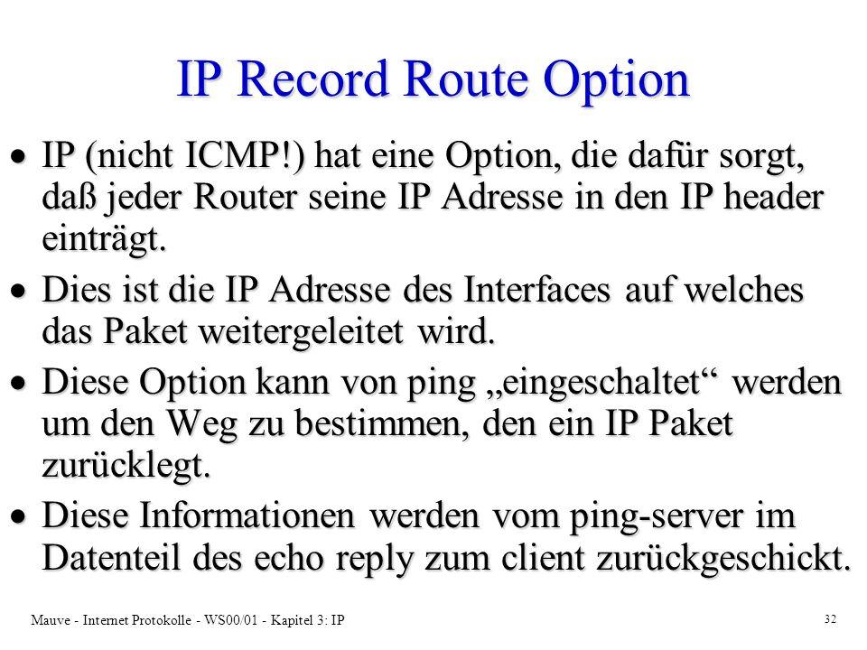 IP Record Route Option IP (nicht ICMP!) hat eine Option, die dafür sorgt, daß jeder Router seine IP Adresse in den IP header einträgt.