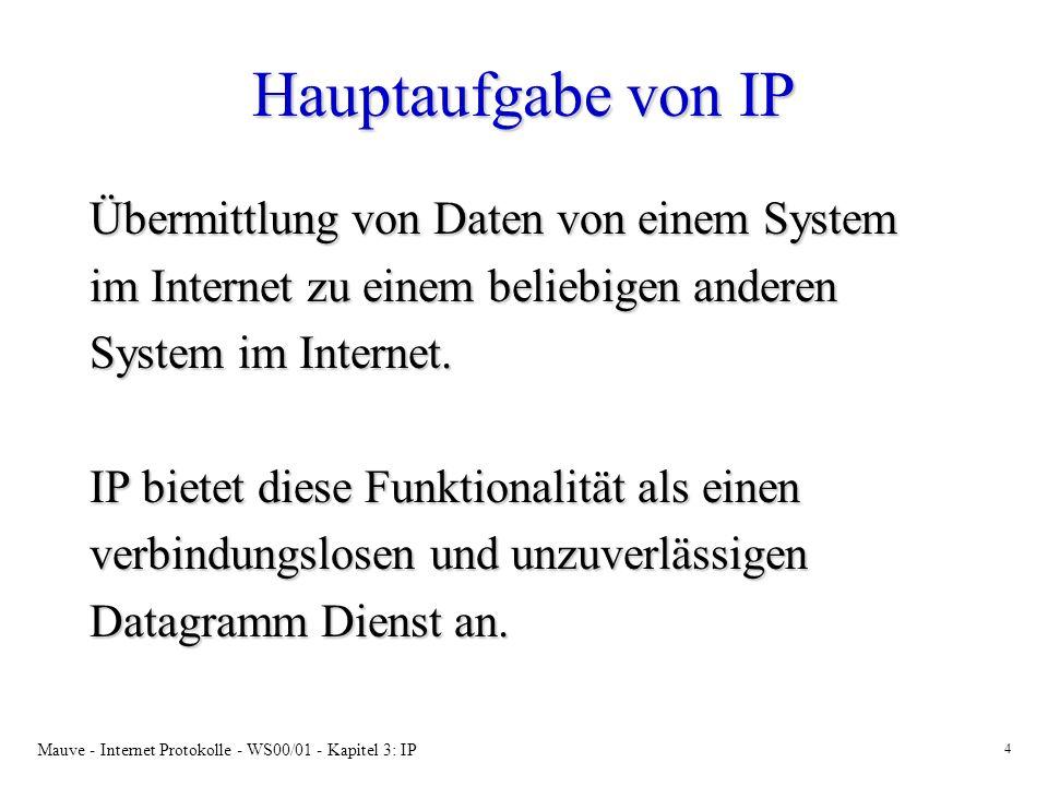 Hauptaufgabe von IP Übermittlung von Daten von einem System
