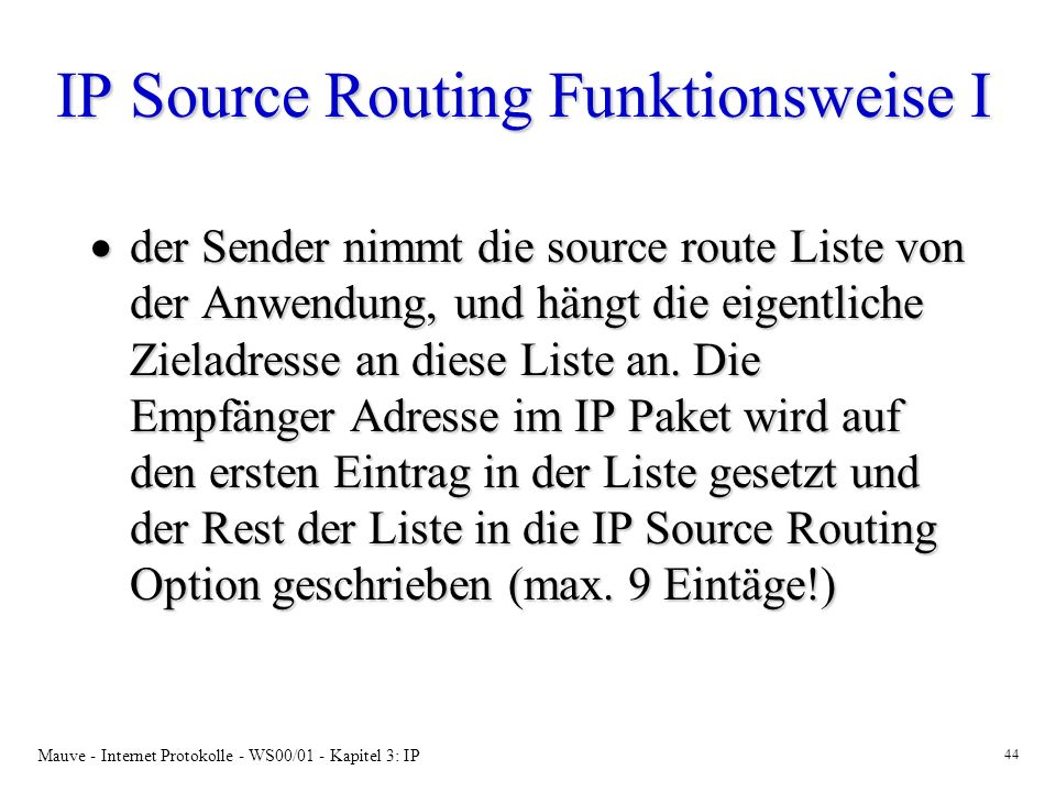 IP Source Routing Funktionsweise I