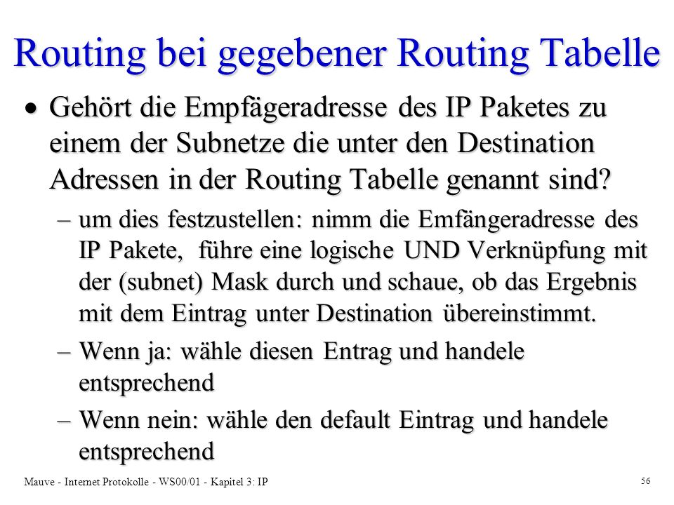 Routing bei gegebener Routing Tabelle