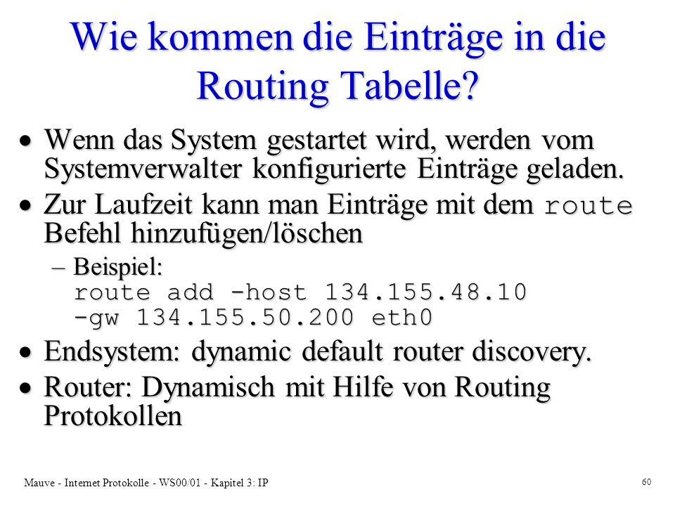 Wie kommen die Einträge in die Routing Tabelle