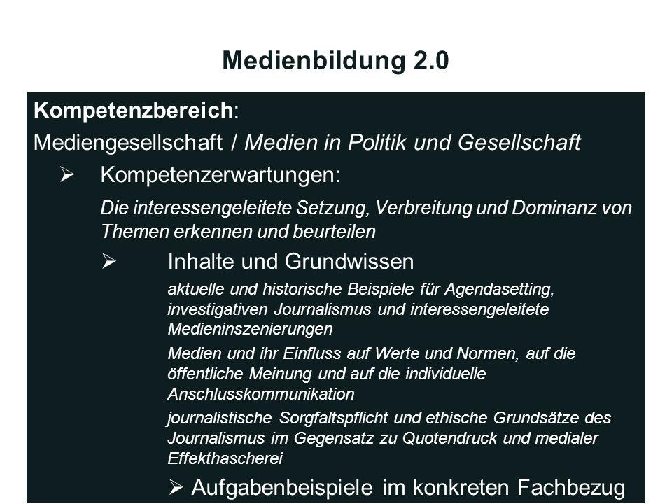 Medienbildung 2.0 Kompetenzbereich: