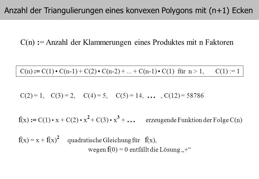 Anzahl der Triangulierungen eines konvexen Polygons mit (n+1) Ecken