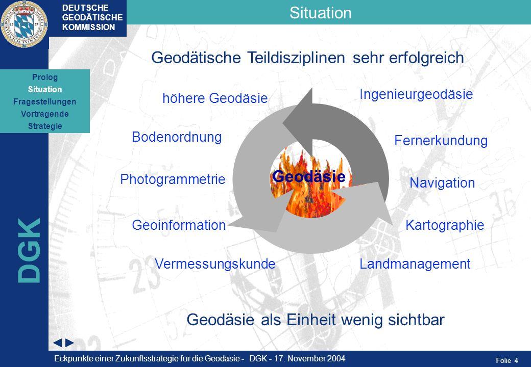 DGK Situation Geodätische Teildisziplinen sehr erfolgreich Geodäsie
