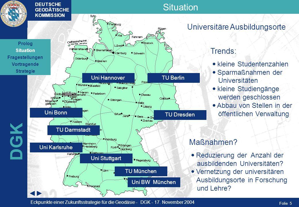 DGK Situation Universitäre Ausbildungsorte Trends: Maßnahmen