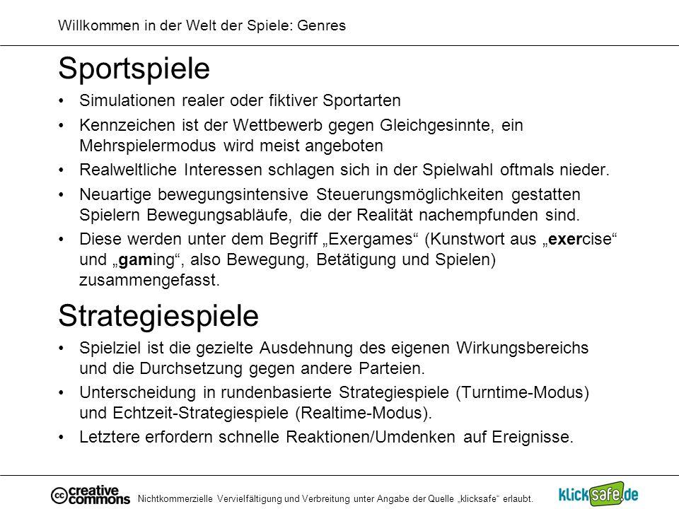 Willkommen in der Welt der Spiele: Genres
