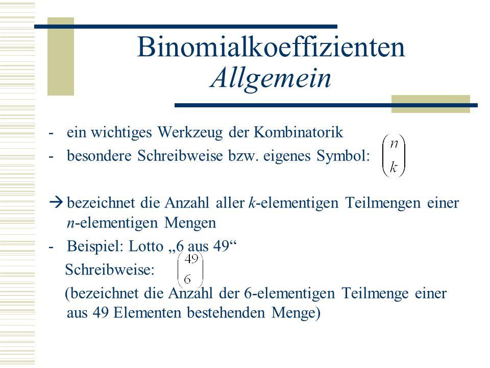 Binomialkoeffizienten Allgemein