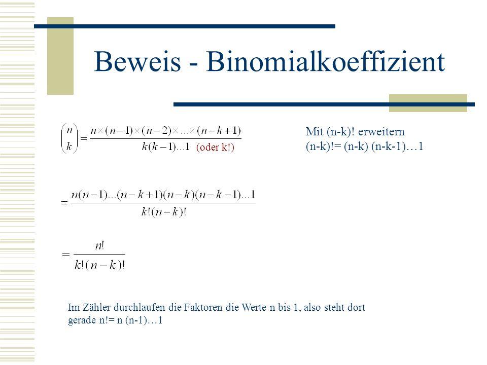 Beweis - Binomialkoeffizient