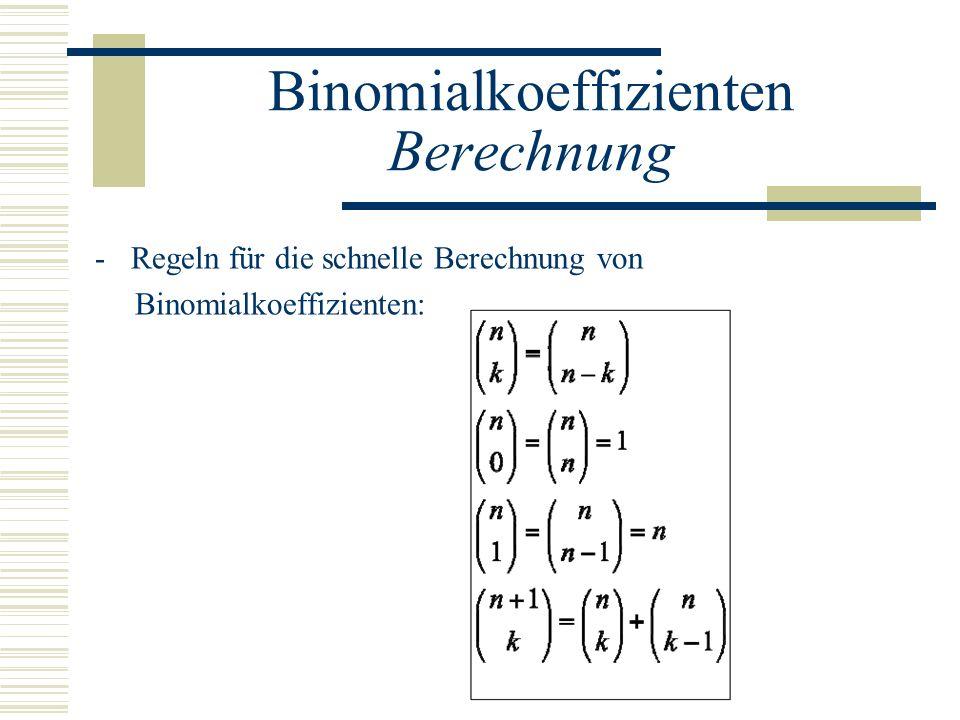 Binomialkoeffizienten Berechnung