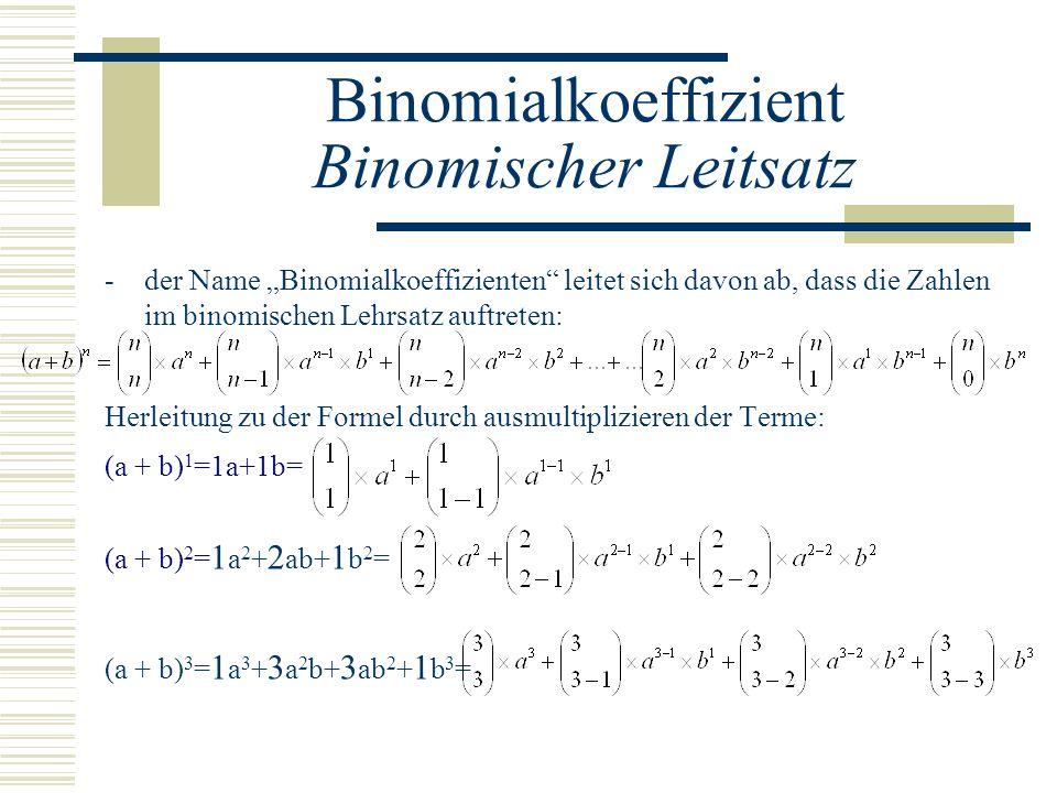 Binomialkoeffizient Binomischer Leitsatz