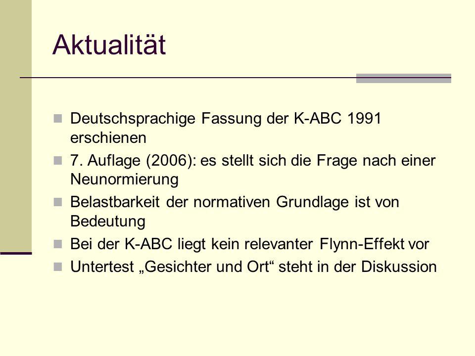 Aktualität Deutschsprachige Fassung der K-ABC 1991 erschienen