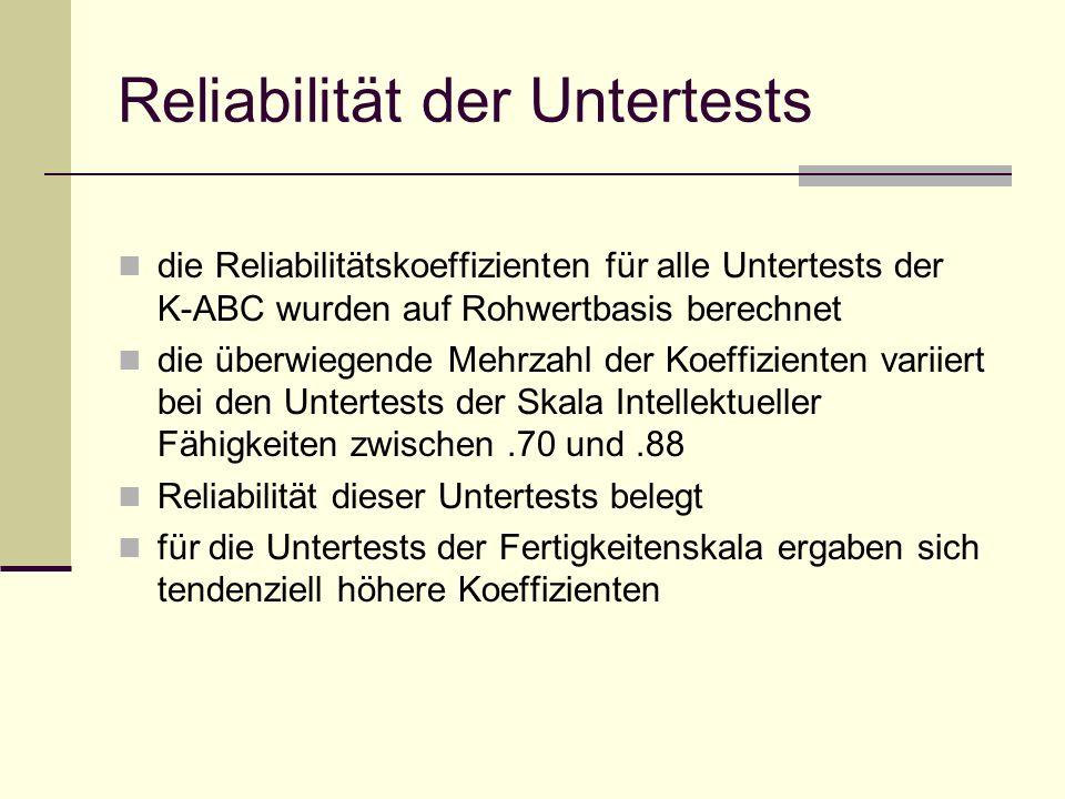 Reliabilität der Untertests