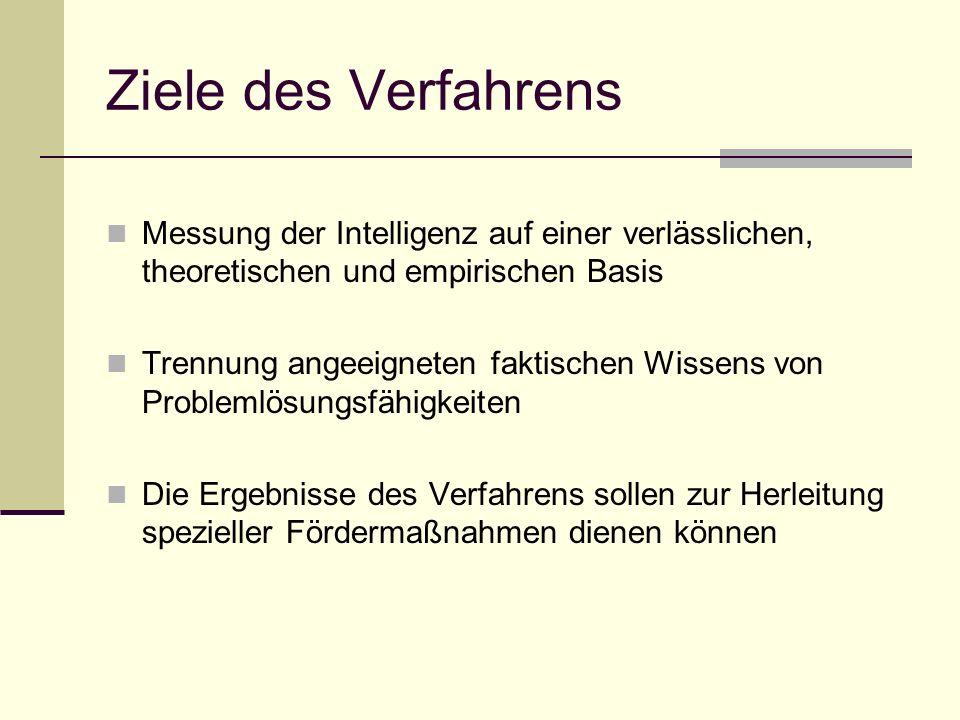 Ziele des Verfahrens Messung der Intelligenz auf einer verlässlichen, theoretischen und empirischen Basis.
