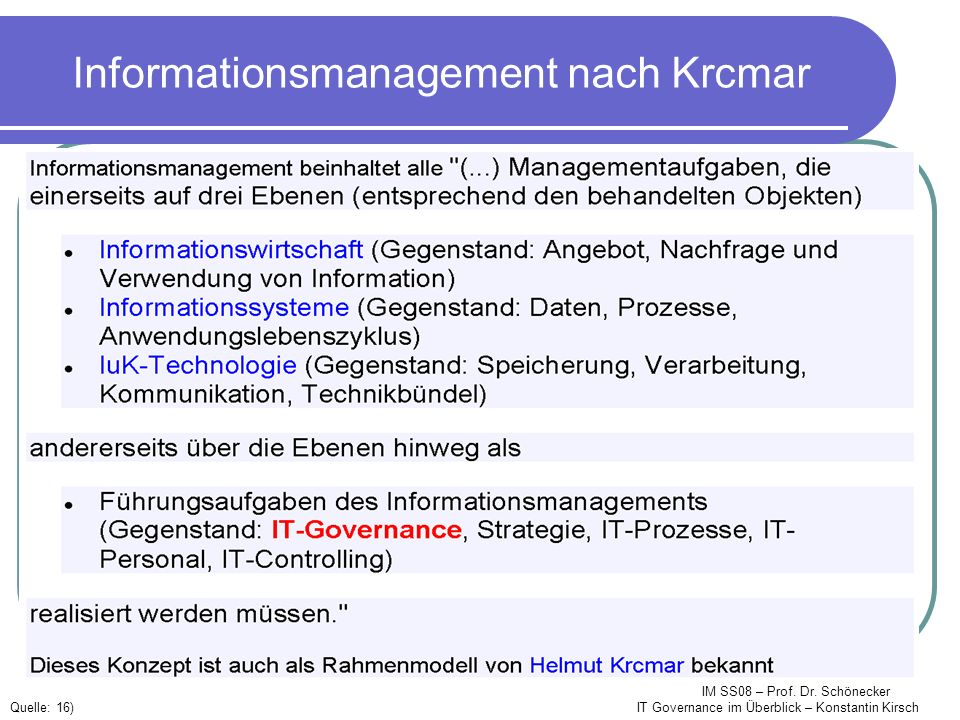 Informationsmanagement nach Krcmar
